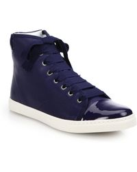 Lanvin Patent Leather & Leather High-Top Sneakers blue - Lyst