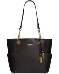 Calvin Klein Leather Tote - Lyst