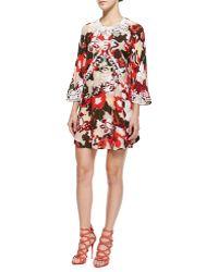 Elle Sasson Georgia Embroidered Floral-Print Dress - Lyst