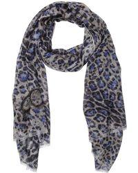 Jimmy Choo Blue And Grey Lightweight Leopard Print Scarf - Lyst