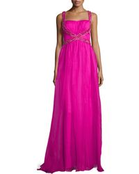 Badgley Mischka Bead Embellished Organza Gown - Lyst