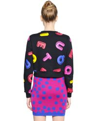 Boutique Moschino Letters Printed Cotton Sweatshirt - Black