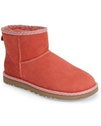 Ugg 'Classic Mini Scallop' Leather Boot pink - Lyst