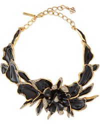 Oscar de la Renta Enamel  Crystal Orchid Necklace - Lyst