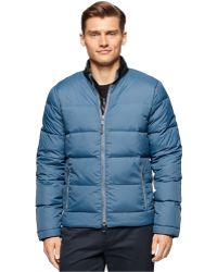 Calvin Klein | Nylon Jacket With Faux Leather Collar | Lyst