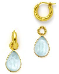 Elizabeth Locke - Light Aqua Intaglio Teardrop Earring Pendants - Lyst
