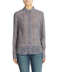 Jessica Simpson Lanay Animal Print Cowl Back Blouse - Blue