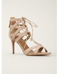 Aquazzura Beige Strappy Sandals - Lyst