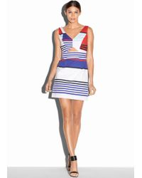 Milly Marina Stripe Cut-Out Dress multicolor - Lyst