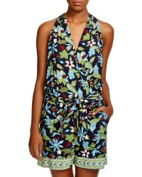 Tory Burch Wisteria Wrap Romper Swim Cover Up - Multicolour