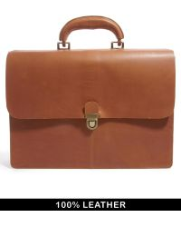 ASOS Leather Briefcase in Vintage Look - Brown