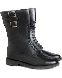 Robert Clergerie Black Leather Estar Combat Boots - Lyst