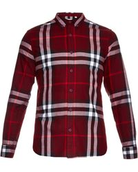 Burberry Brit - Ecclestone Point-collar Brushed-cotton Shirt - Lyst