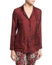 Piamita - Annabelle Silk Pajama Top - Lyst
