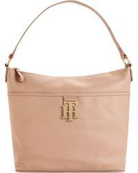 Tommy Hilfiger Th Monogram Leather Bucket Bag - Natural