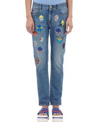 Stella McCartney Stella Superhero-patch Boyfriend Jeans - Lyst