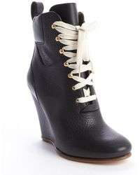 Chloé Black Leather Lace-Up Wedge Ankle Boots - Lyst