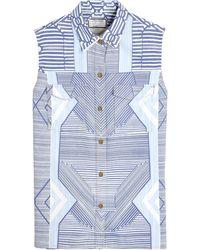 Mary Katrantzou X Current/elliott The Keys Print Sleeveless Denim Shirt - Lyst