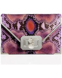 Marchesa Valentina Python Envelope Clutch Bag - Lyst