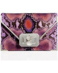 Marchesa Valentina Python Envelope Clutch Bag purple - Lyst