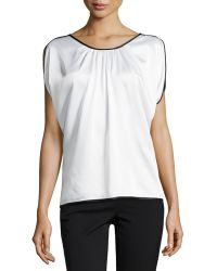 Michael Kors Satin Charmeuse Top with Binding - Lyst