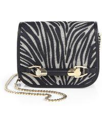 Jimmy Choo Zadie Mini Zebra-Patterned Leather & Raffia Crossbody Bag - Lyst