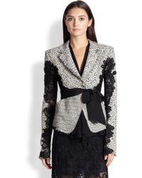 Donna Karan New York Belted Tweed & Lace Jacket - Lyst