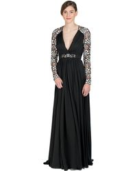 Badgley Mischka Lace Sleeve Evening Gown - Lyst
