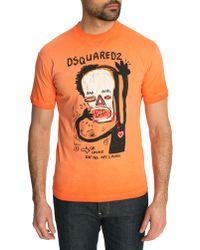 DSquared² Washed Orange Dean Fit Basquiat Tshirt - Lyst