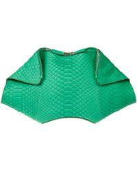 Alexander McQueen Green De Manta Python Clutch Bag - Lyst