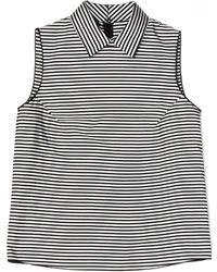 Jil Sander Navy Camicia Collared Stripe Top - Lyst