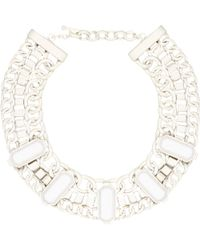 River Island White Chunky Stone Chain Necklace - Lyst