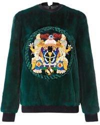 Mary Katrantzou Jumbar G Fur Sweater Embroidered - Lyst
