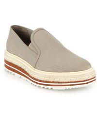 Prada Platform Espadrille Canvas Slip-On Sneakers - Lyst
