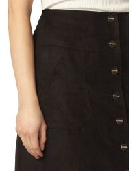 Dorothy Perkins - Faux Suede Button-front Midi Skirt - Lyst