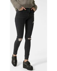 Topshop Moto 'Jamie' Ripped Ankle Skinny Jeans - Lyst