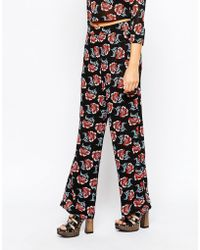 Fashion Union - Wide Leg Pant In Floral Print - Lyst