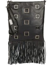 Badgley Mischka Lisa Leather Fringe Crossbody Bag black - Lyst