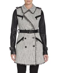 Rachel Zoe Tweed & Leather Trench Coat - Lyst