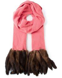 Guy Laroche Fur Trim Scarf - Pink
