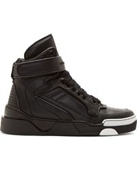 Givenchy Black Leather Runway High_top Sneakers - Lyst