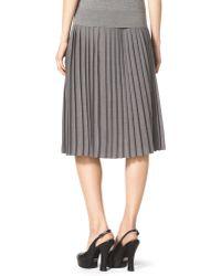 Michael Kors Pleated Slit-Front Wool Skirt - Lyst