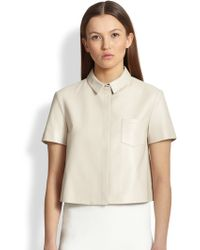 Burberry London Short-Sleeve Leather Top - Lyst