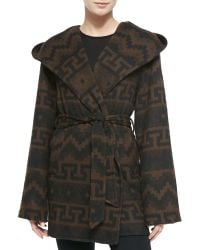 Sofia Cashmere Tribal-Print Hooded & Belted Coat - Lyst