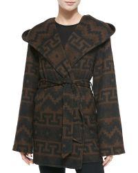 Sofia Cashmere Tribal-Print Hooded & Belted Coat black - Lyst
