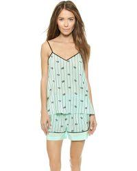 Tibi - Pajama Cami Short Set - Mint Combo - Lyst