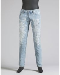 Dolce & Gabbana | Skinny Jeans With Artisanal Embroidered Repair | Lyst