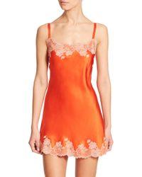 Josie Natori Lolita Silk Chemise orange - Lyst
