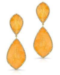 Anne Sisteron - 14kt Yellow Gold Orange Mother Of Pearl Diamond Earrings - Lyst