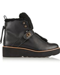 Coach Urban Hiker Shearling-Trimmed Leather Boots - Lyst